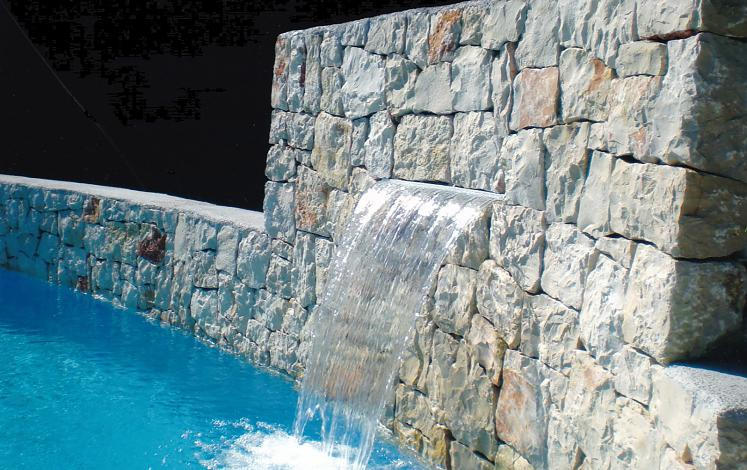Stone wall with water cascade